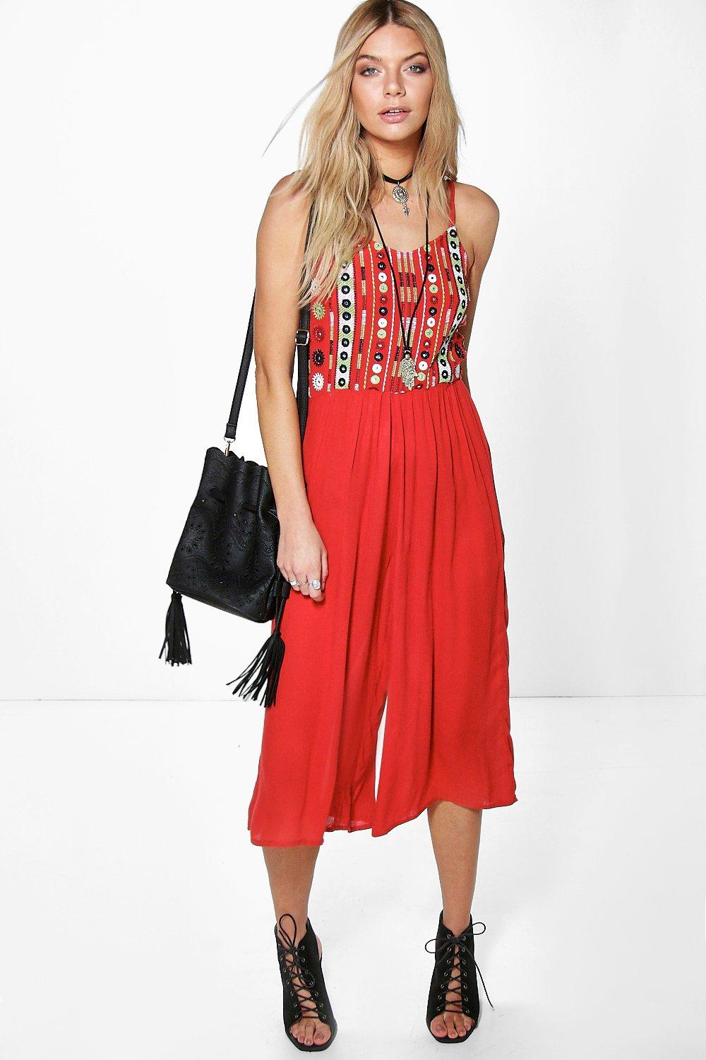 Boutique Ella Embroidered Culotte Jumpsuit