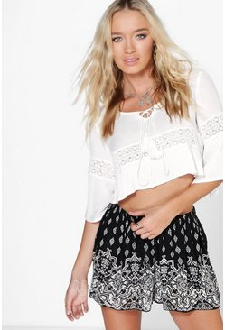 Bella Border Print Woven Shorts