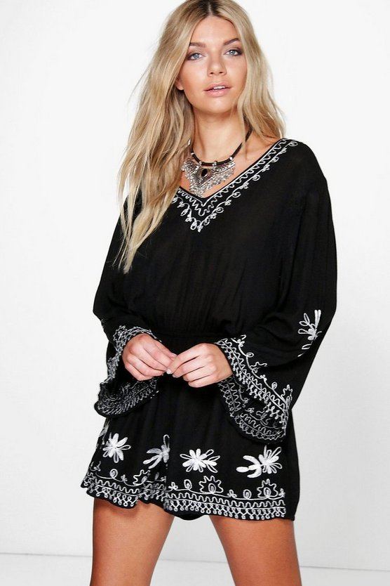 Elli Embroidered Wide Sleeve Playsuit