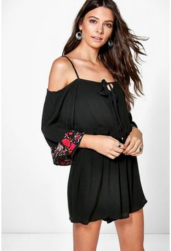 Ollie Open Shoulder Embroidered Playsuit