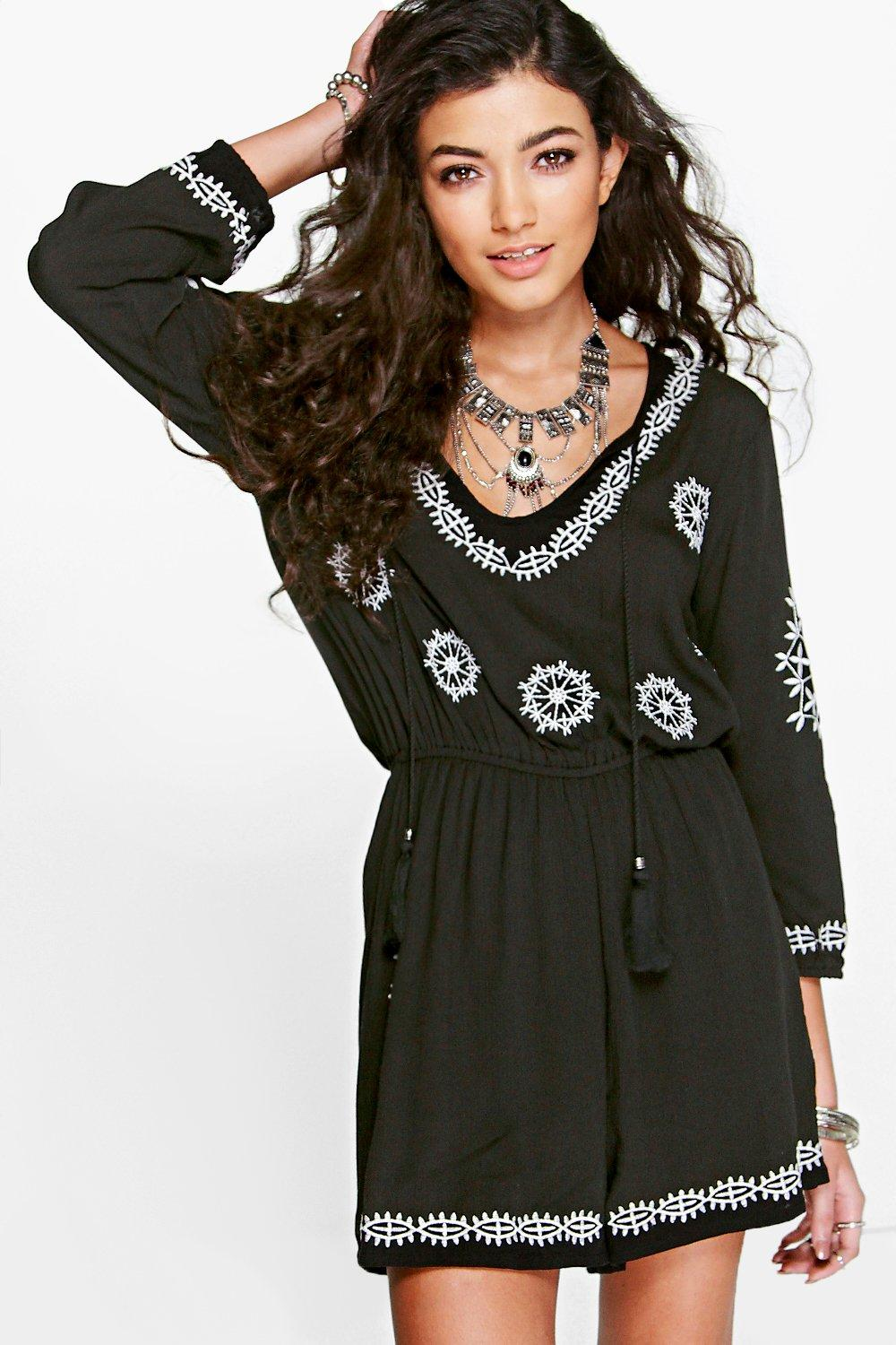 Emma Embroidered Tassel Playsuit