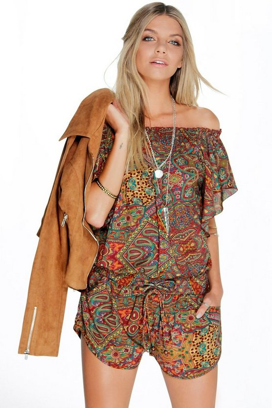 Olivia Off The Shoulder Ruffle Paisley Playsuit