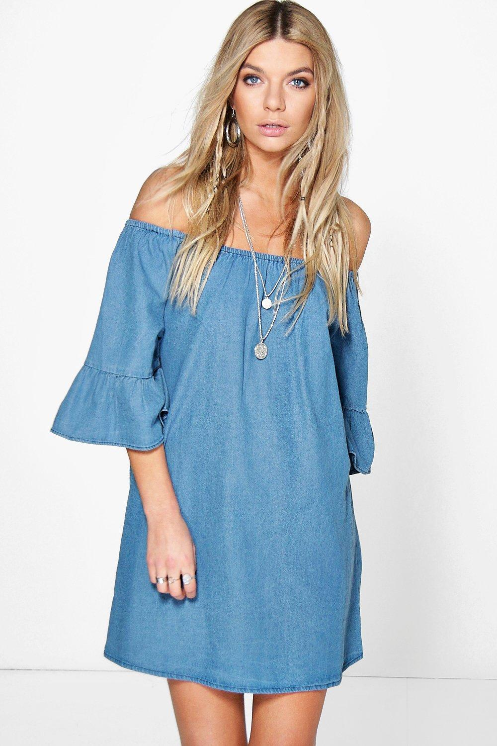 Ruffle Off The Shoulder Smock Denim Dress  blue