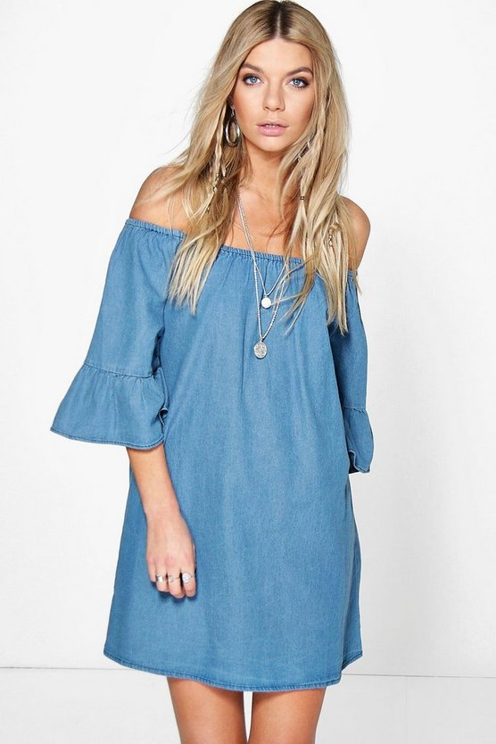 Lottie Ruffle Off The Shoulder Smock Denim Dress
