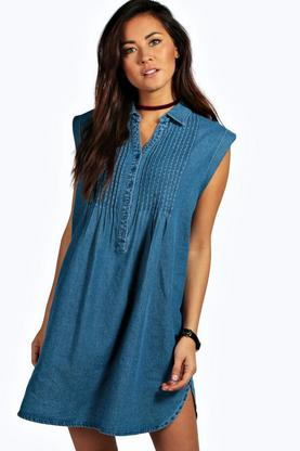 Ella Oversized Pintuck Denim Smock Dress