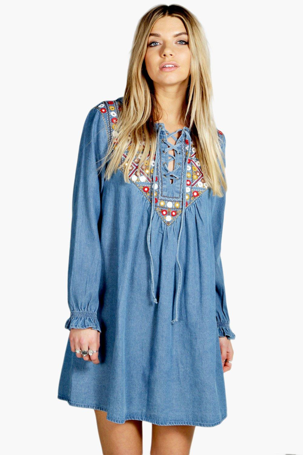 Boutique Laura Embroidered Denim Smock Dress | Boohoo
