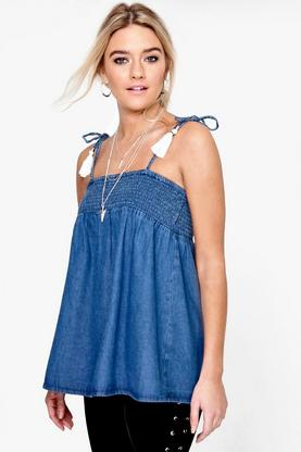 Jenny Tassel Trim Swing Denim Cami Top