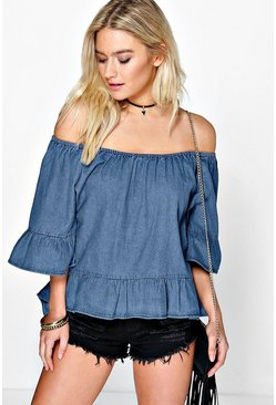 Olivia Off The Shoulder Denim Ruffle Top