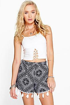 Helen Printed Tassel Trim Runner Shorts