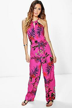 Julie High Neck Tropical Print Jumpsuit