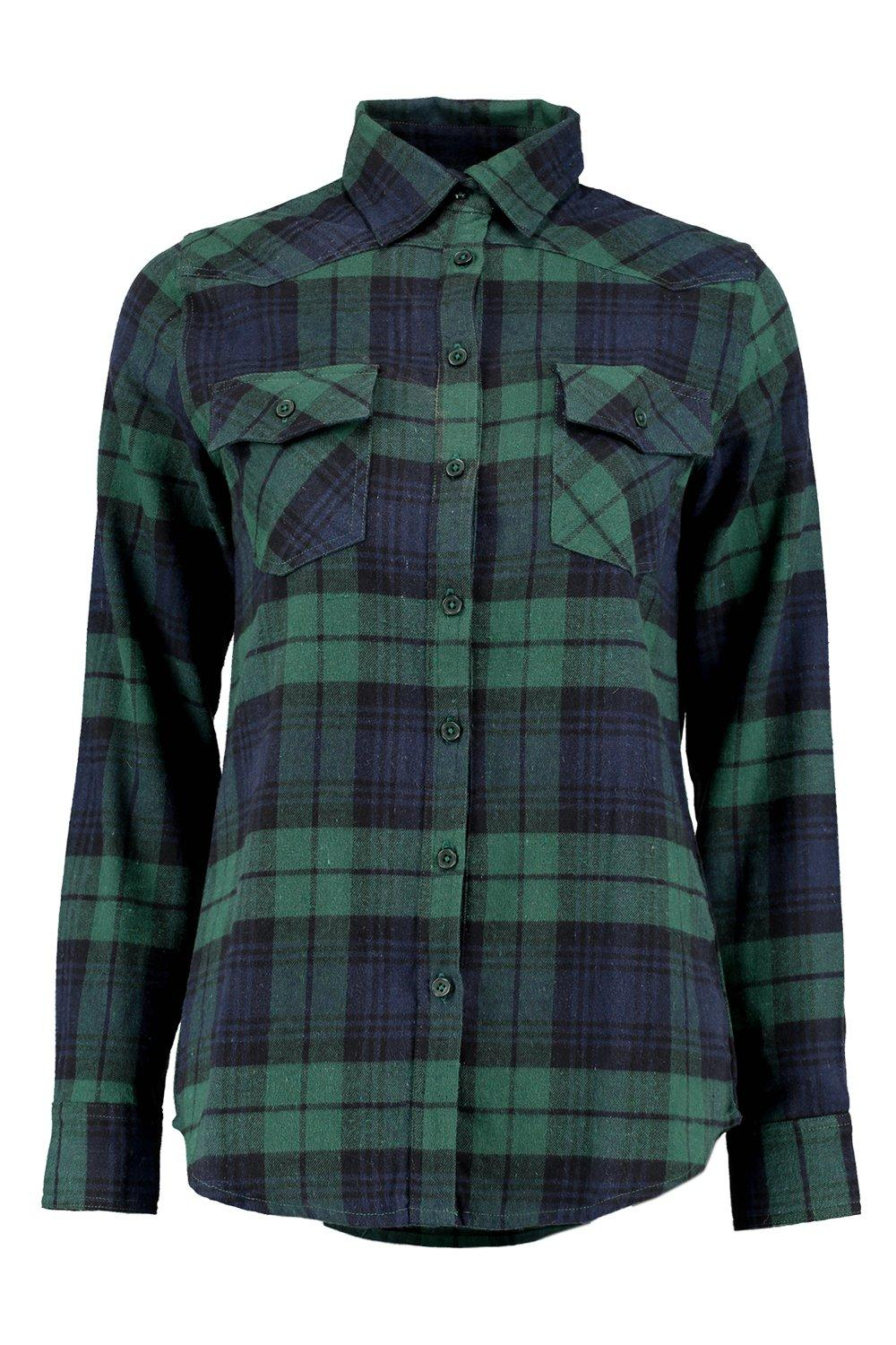 Boohoo womens sophie brushed large checked shirt for Womens green checked shirt