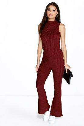 Anna Turtle Neck Asymmetric Rib Knit Flares Co-ord