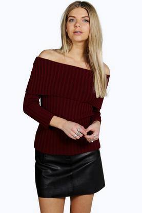 Dinah Bardot Ribbed Jumper