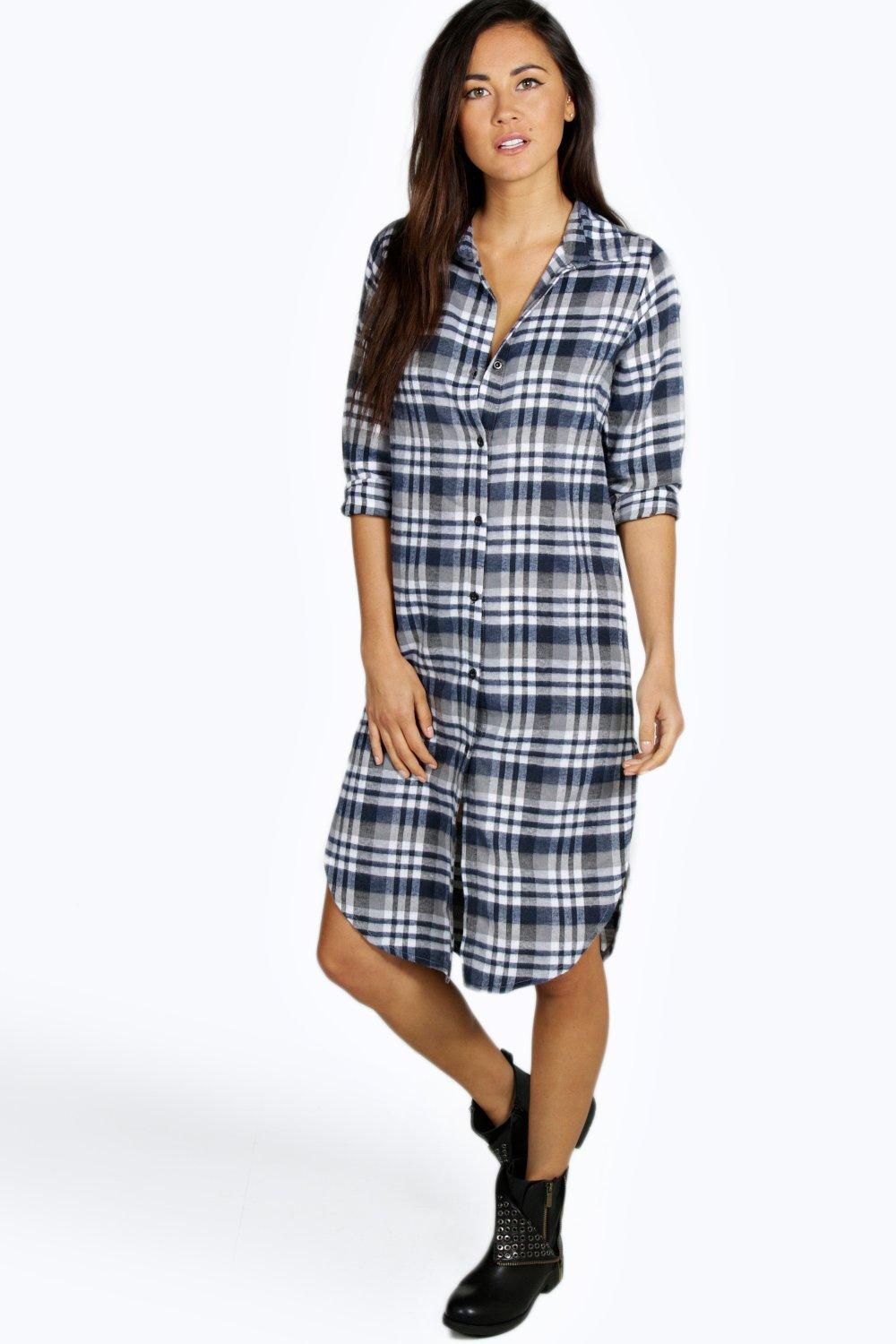 Adrianne Step Hem Checked Midi Shirt Dress