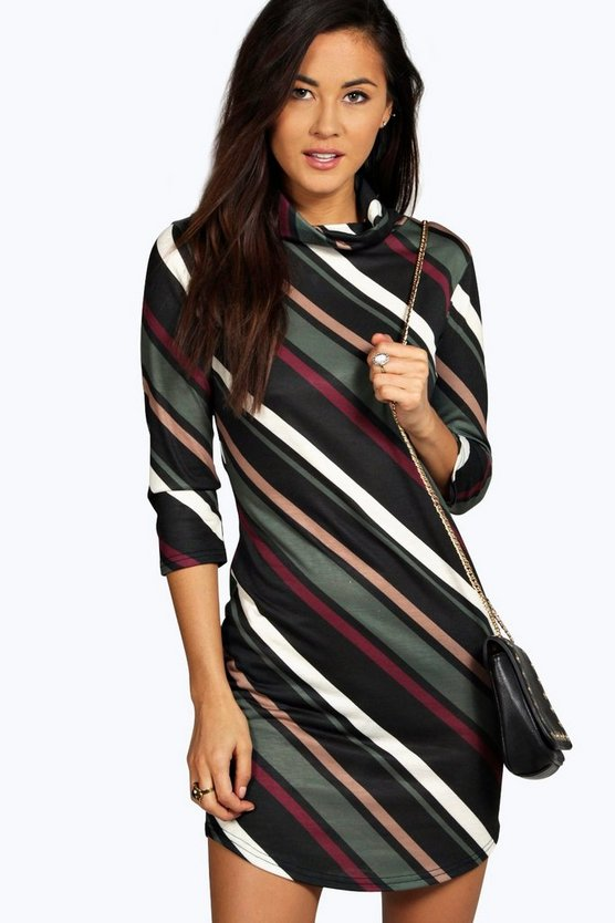 Dia Stripe Curved Hem Cowl Bodycon Dress