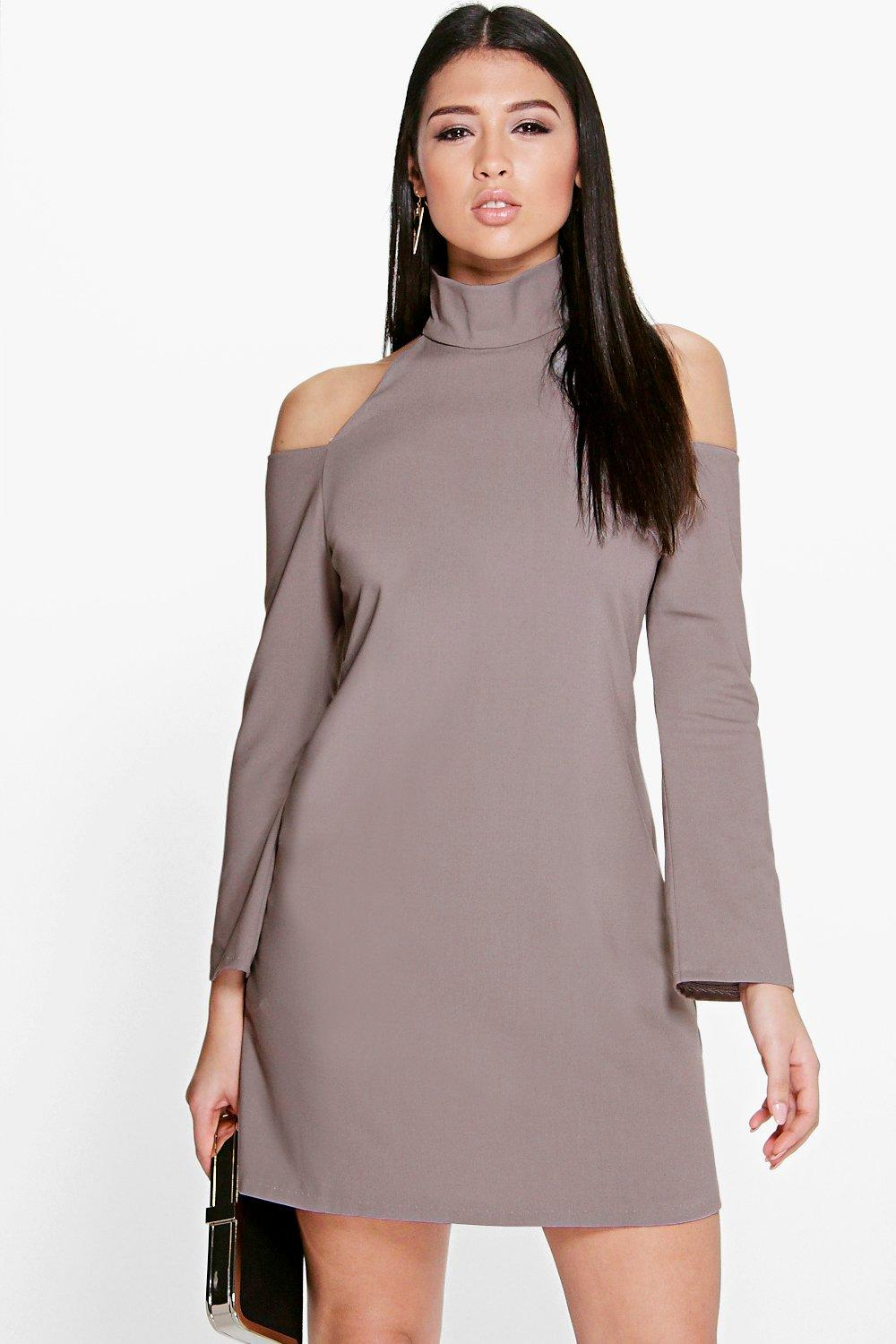 Ali High Neck Cold Shoulder A-Line Shift Dress