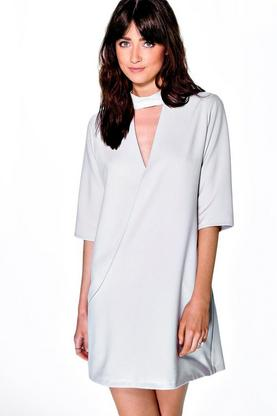 Amy High Neck Wrap 3/4 Sleeve Mini Dress