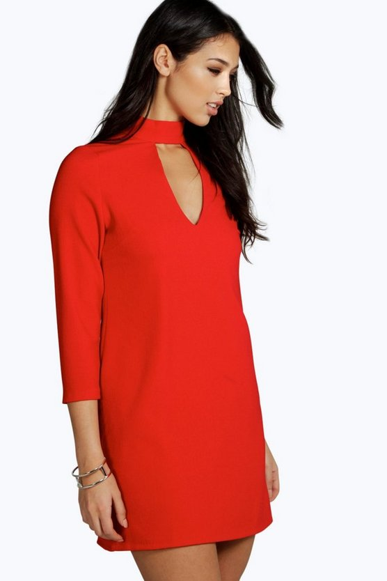 Charlene High Neck 3/4 Sleeve Shift Dress