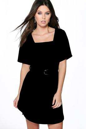 Larissa Buckle Detail Curved Hem Shift Dress