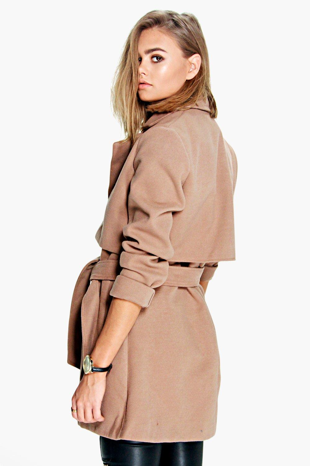Boohoo Womens Brooke Belted Wool Look Trench