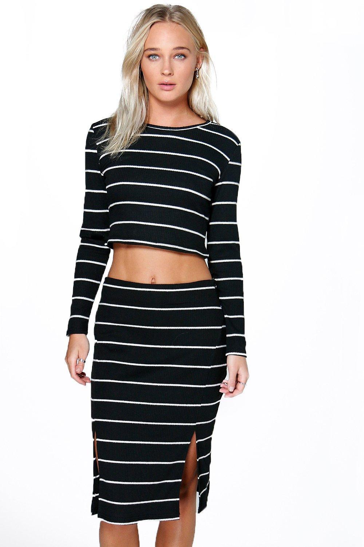 Stripe Fine Gauge Split Back Skirt black