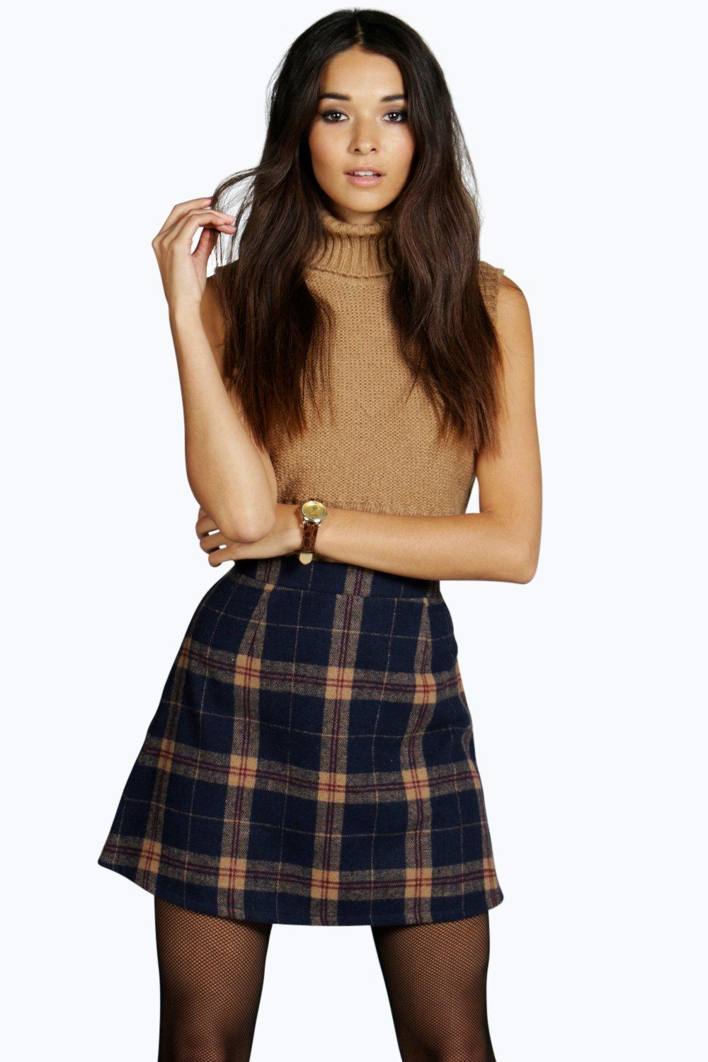 Amelle Woven Brushed Check A Line Mini Skirt