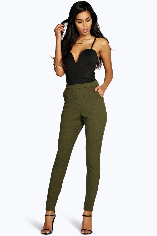 Crepe Super Stretch Skinny Trousers  khaki
