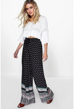 Adira Border Print Wide Leg Trousers