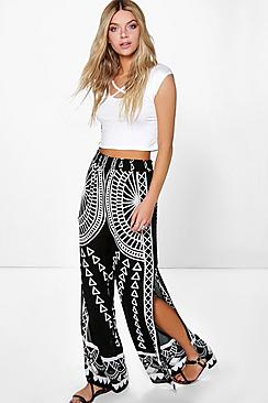 Aria Split Leg Woven Placement Print Trousers