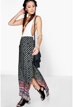 Zanthe Side Split Border Print Maxi Skirt