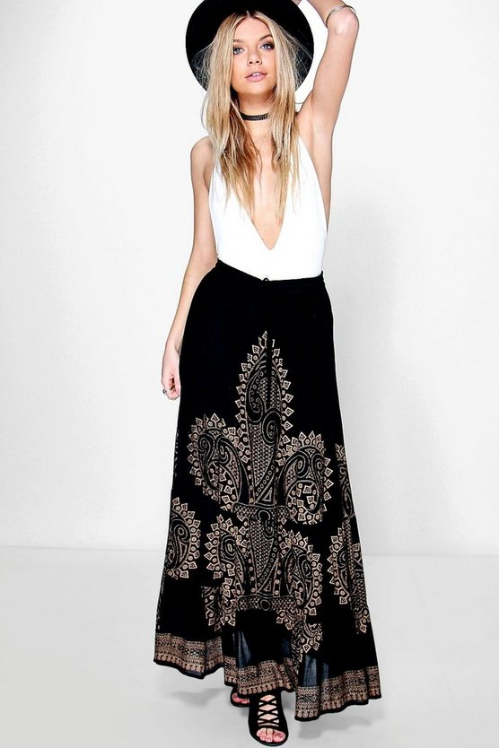 Scarlett Foil Placement Print Maxi Skirt
