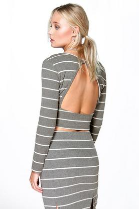Lauren Open Back Fine Gauge Knit Stripe Top