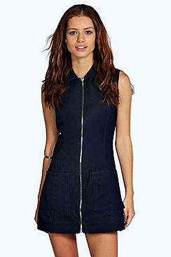 Julia Zip Through Denim Dress