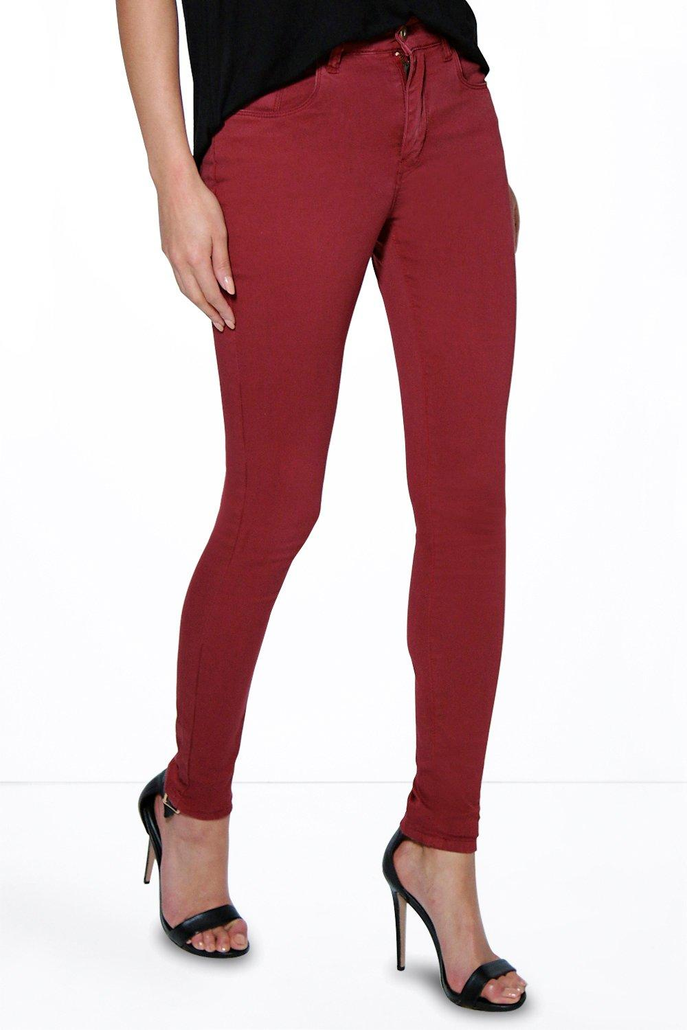 5 Pkt High Rise Supersoft Skinny Jeans berry