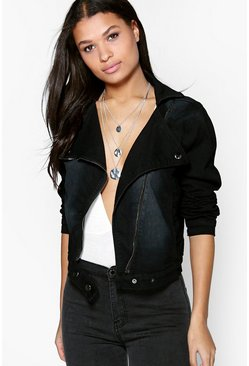 Adela Slim Fit Stretch Denim Biker Jacket