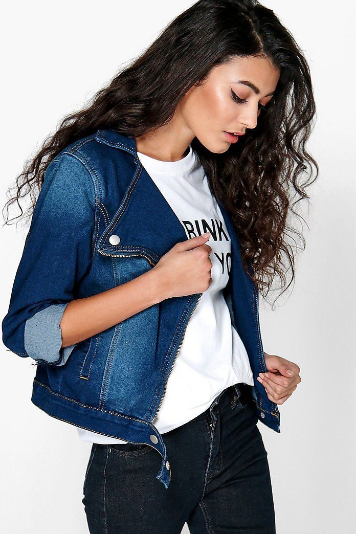 Sophia Slim Fit Denim Biker Jacket