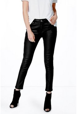 Ella Mid Rise Coated Ankle Grazer Skinny Jeans