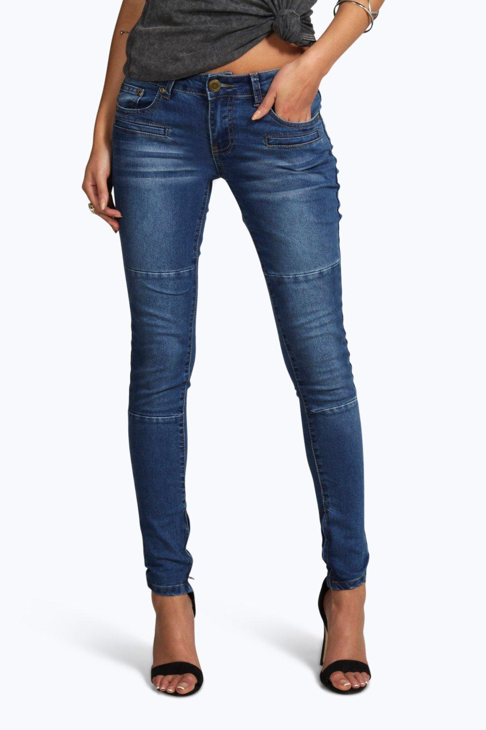 Ellie Low Rise Panelled Pocket Detail Skinny Jeans