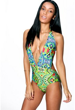 Canaries Geo Plunge Halter Swimsuit