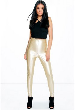 Maya Skinny Side Zip Leather Look Trousers