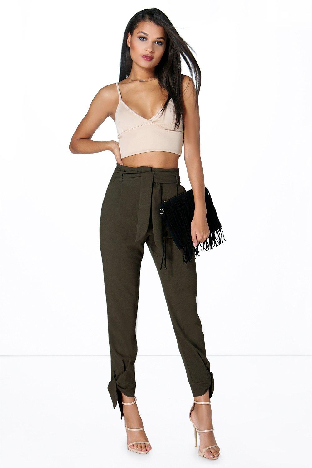 Belted Tailored Tie Ankle Slim Trousers  khaki