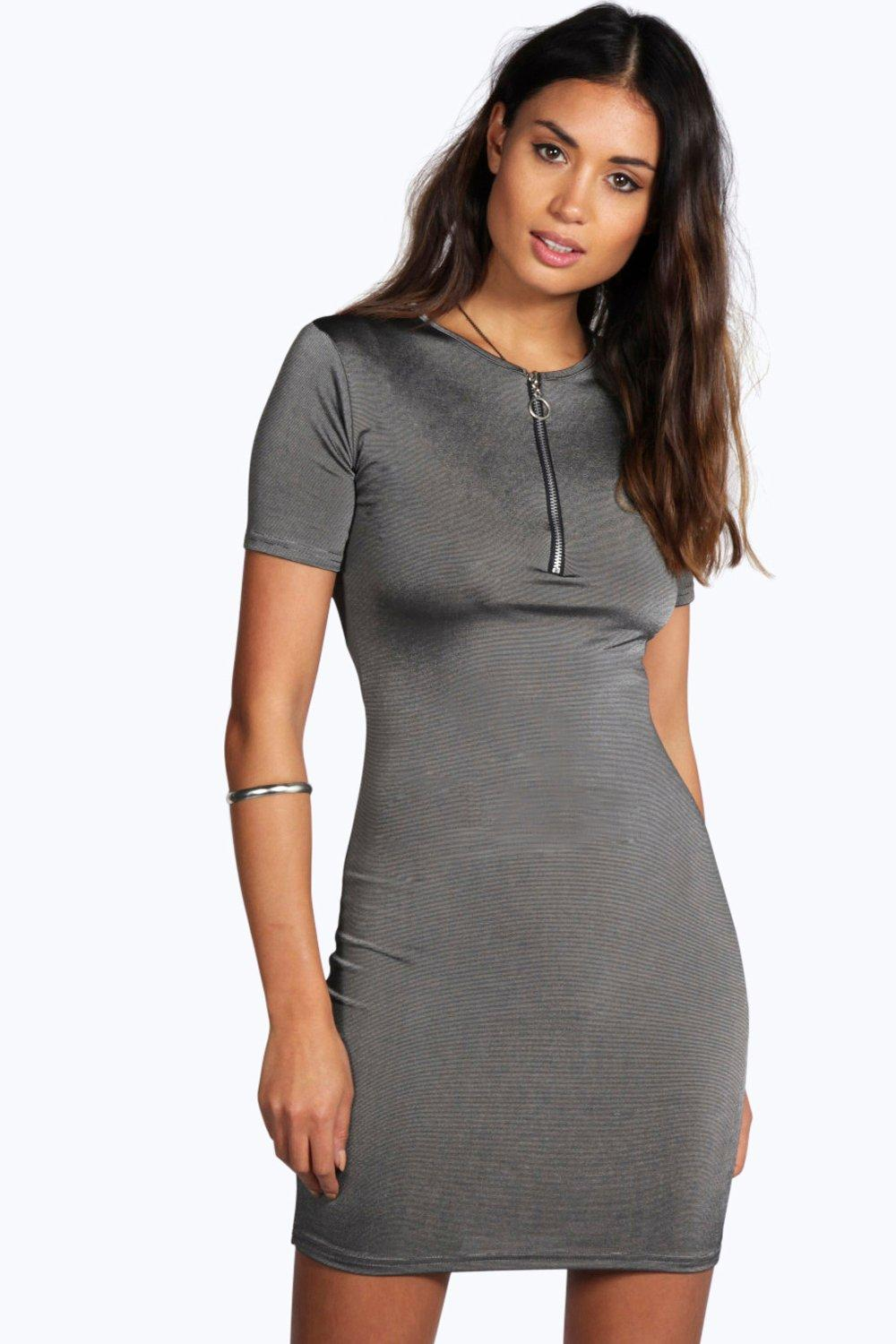 Annie Crew Neck Zip Detail Bodycon Dress