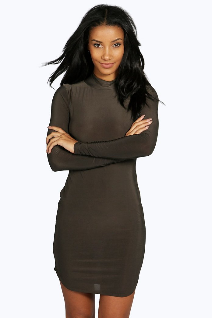 Sabrine High Neck Curved Hem Bodycon Dress