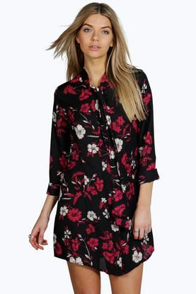 Emilia Tie Neck Floral Shirt Dress