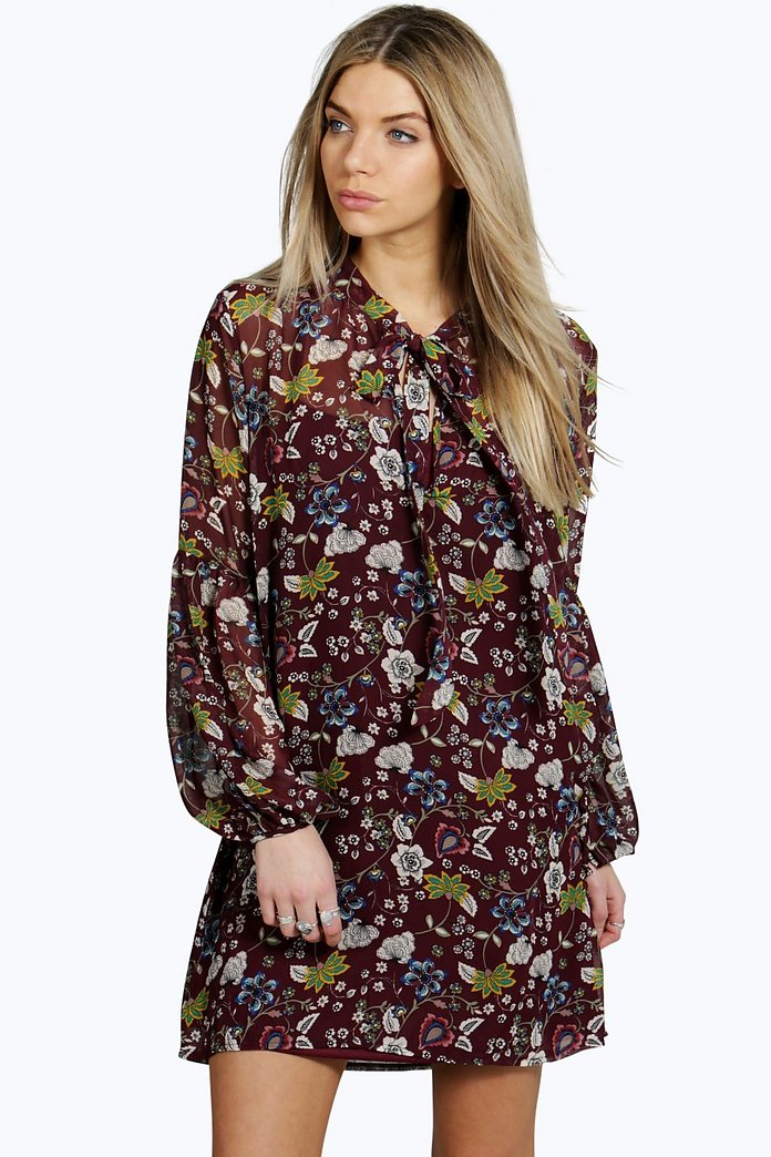 Lara Tie Neck Puff Sleeve Floral Shirt Dress