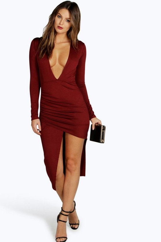 Morgan Plunge Neck Asymmetric Bodycon Dress