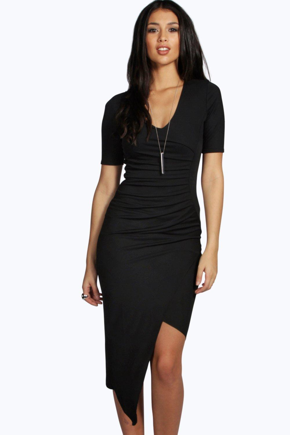 Ruched Asymmetric Midi Dress  black