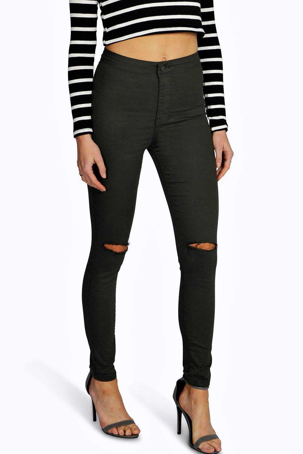 Laura Ripped Knee High Waist Skinny Jeans