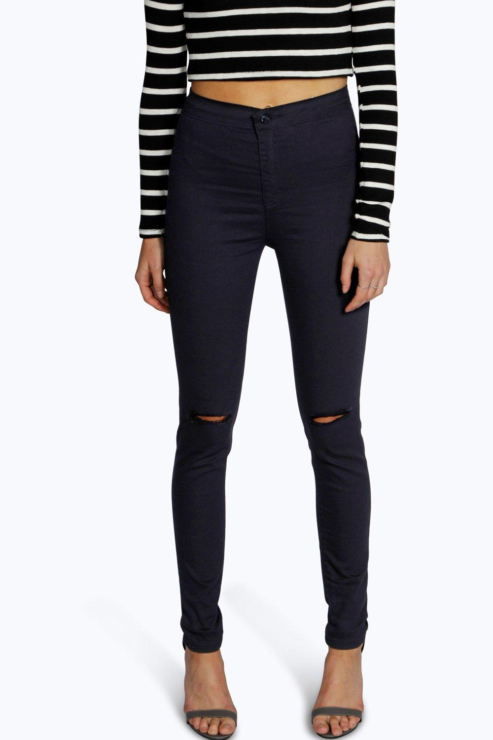 Ripped Knee High Waist Skinny Jeans navy
