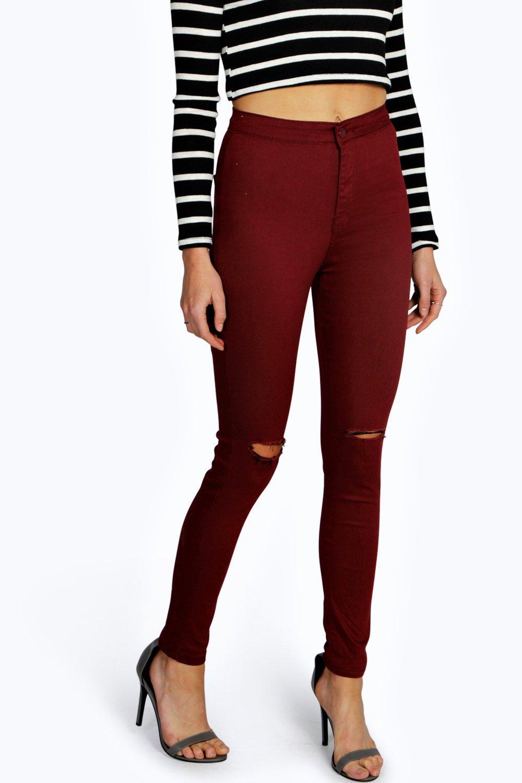 Ripped Knee High Waist Skinny Jeans wine